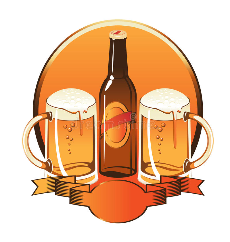 Bottle Of Beer Two Glasses Stock Photography