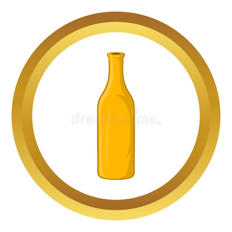 Bottle of beer vector icon. In golden circle, cartoon style isolated on white background royalty free illustration