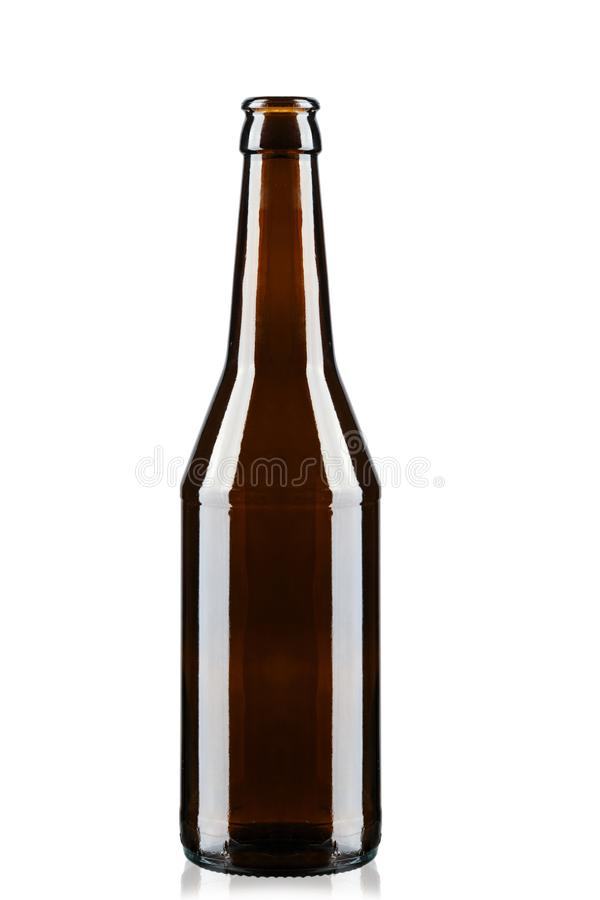 A bottle of beer on white. Glass brown bottle with beer on white background royalty free stock photos