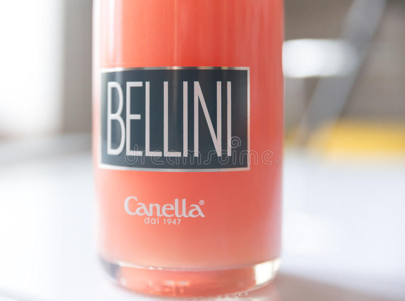 Bottle of Bellini cocktail stock photography