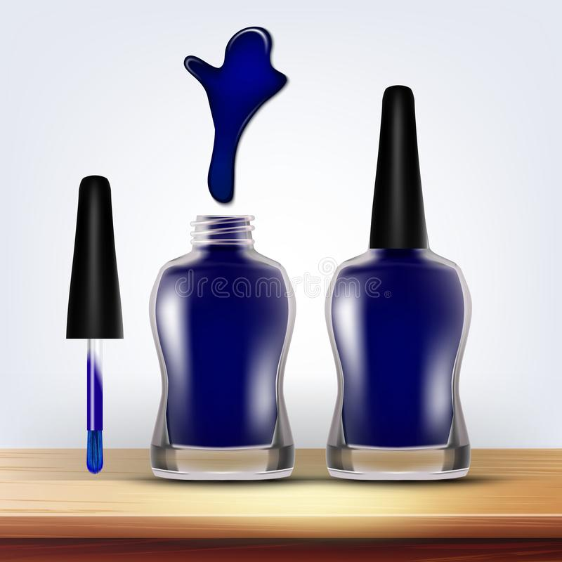 Bottle Of Blue Nail Polish Female Cosmetic Vector vector illustration