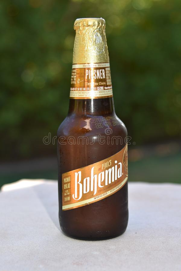 Bottle of Bohemia beer imported from Mexico. Beer manufactured in Mexico exported to the United States. Free trade agreement keeps from tariffs royalty free stock image