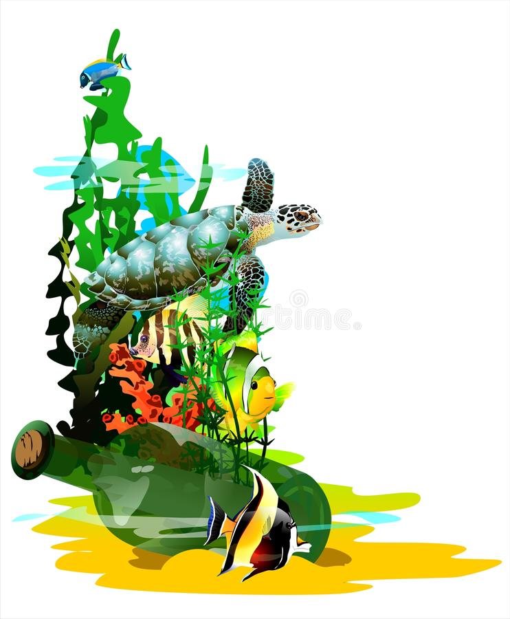 The bottle at the bottom of the sea. (Vector) vector illustration