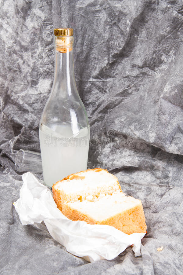Bottle and bread royalty free stock photo