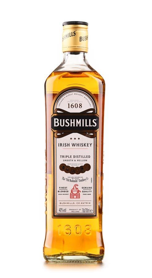Bottle of Bushmills Original Irish whiskey isolated on white. POZNAN, POLAND - DEC 15, 2017: Bottle of Bushmills Original Irish whiskey, product of Old Bushmills royalty free stock images
