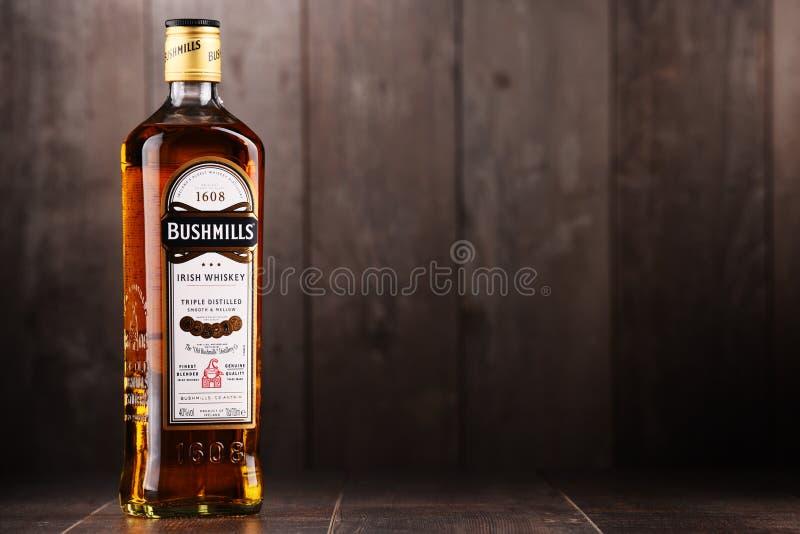 Bottle of Bushmills Original Irish whiskey. POZNAN, POLAND - DEC 15, 2017: Bottle of Bushmills Original Irish whiskey, product of Old Bushmills Distillery royalty free stock photos