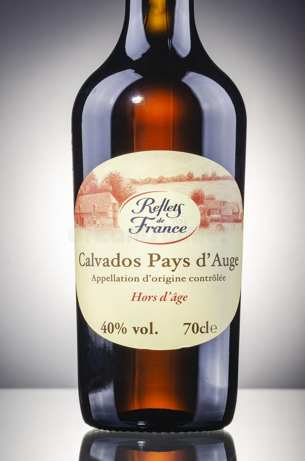 Bottle of calvados on gradient background royalty free stock photo