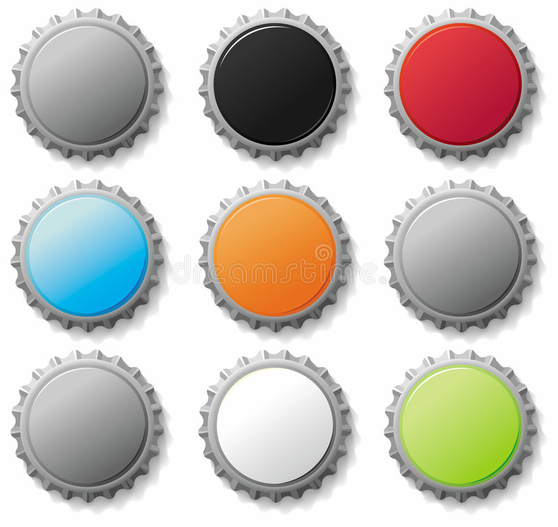 Free Bottle Caps 3- Vector Set Stock Photography - 6102292