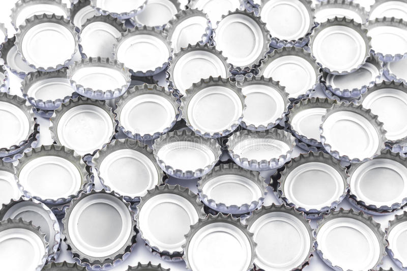 Bottle caps. Old and dirty on white background stock photo