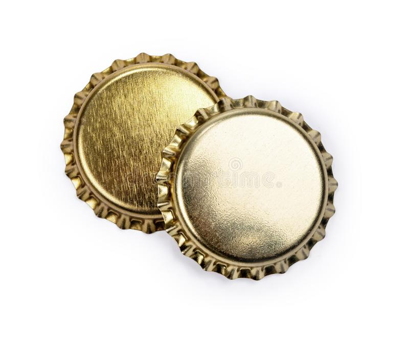 Bottle caps on white. Background with clipping path stock photography