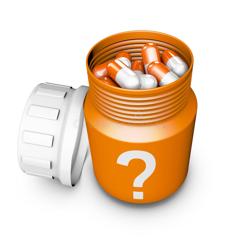 Bottle with capsules. Bottle with a question mark depicted and capsules vector illustration