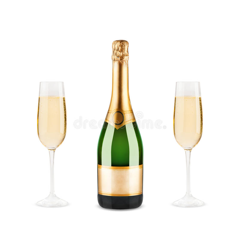 Bottle of champagne. Beautiful picture of a bottle of champagne stock photos