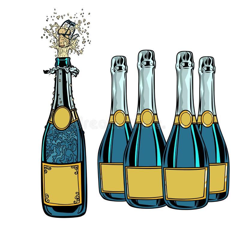 bottle champagne Berömferiehälsningar Nytt år och vektor illustrationer