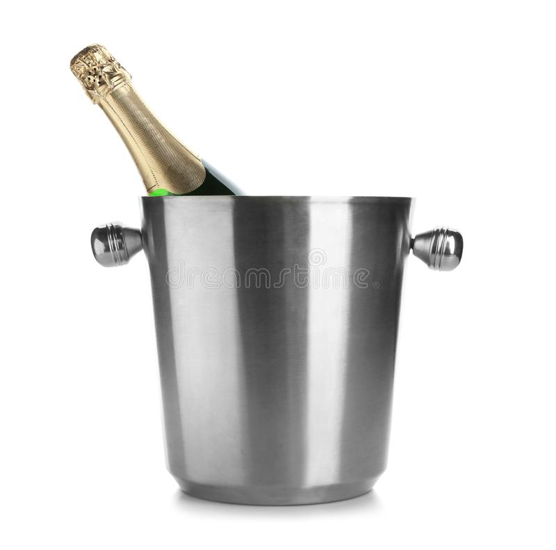 Bottle of champagne in bucket. On white background stock images