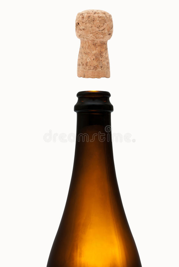 Bottle of champagne with cork stock photos