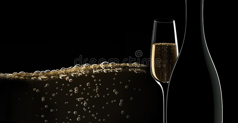 A bottle of champagne with a glass vector illustration