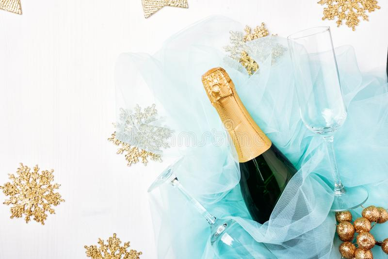 Bottle of a champagne and glasses. stock image