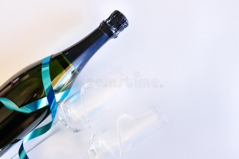 Bottle of champagne and glasses royalty free stock photo