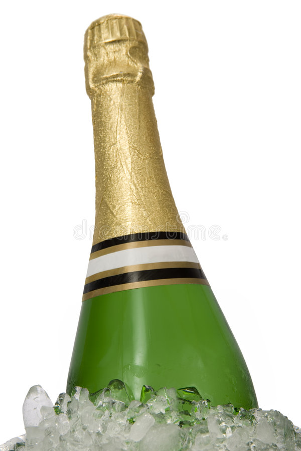 Bottle of champagne on ice royalty free stock images