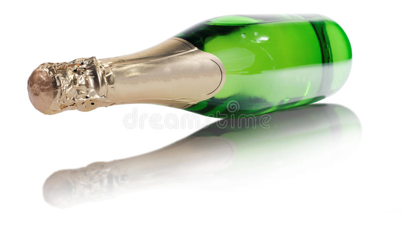 A bottle of champagne on isolated