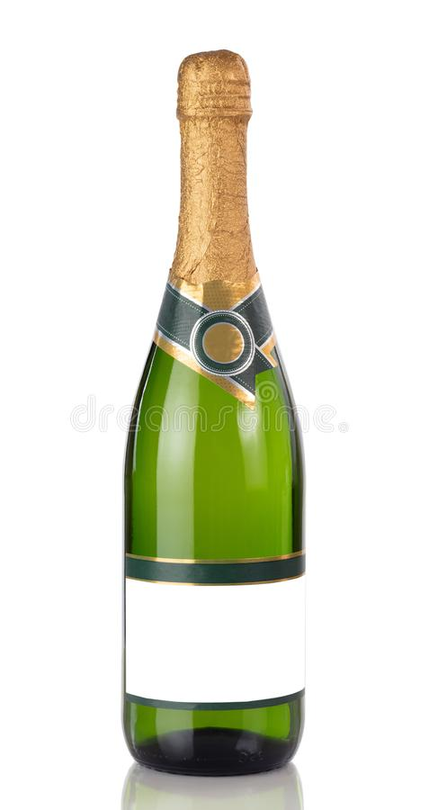 Bottle of Champagne isolated on a white background with reflection in close up view royalty free stock images