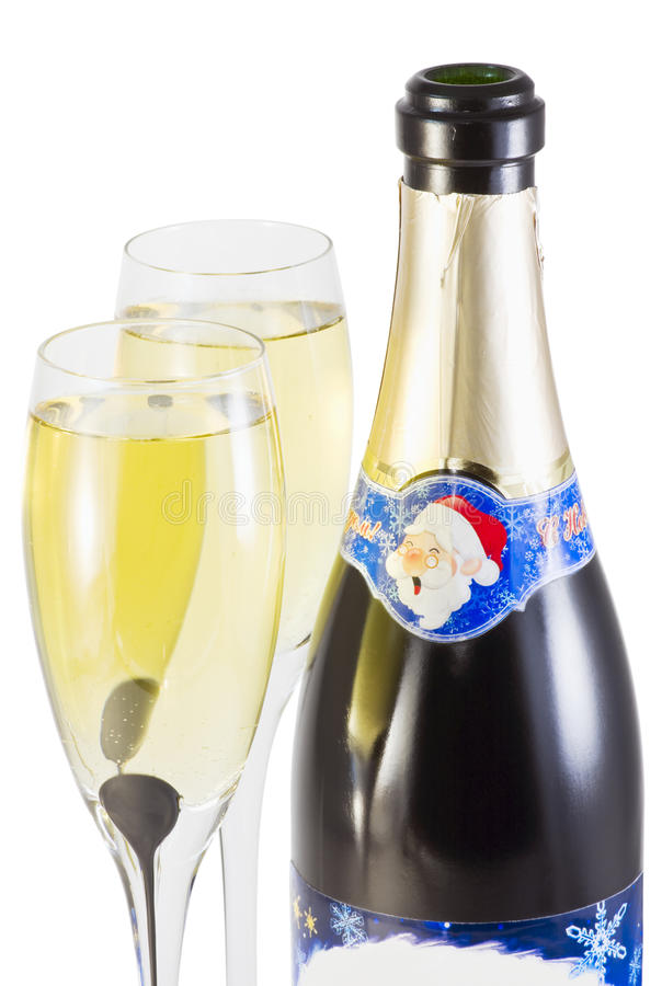 Bottle of champagne New Year royalty free stock images