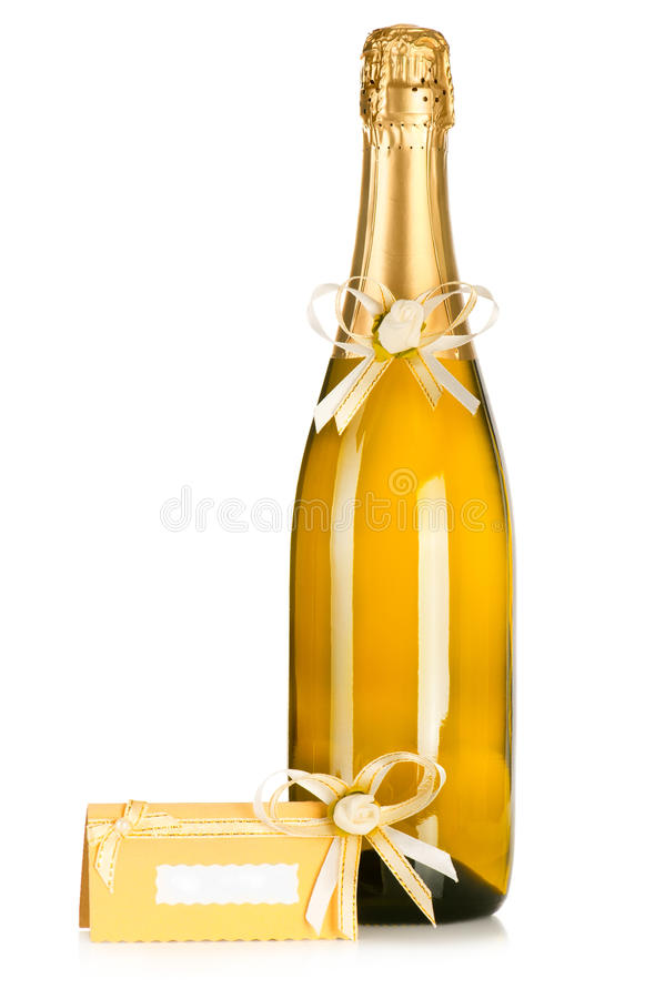 Bottle Of Champagne And Wedding Invitation Card Stock Photography