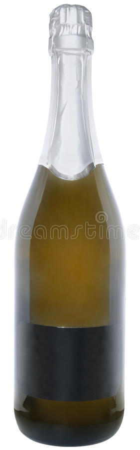 Bottle with a champagne. On a white background royalty free stock photography