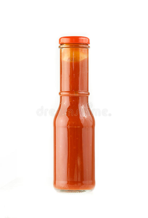 Bottle of chili sauce isolated on white royalty free stock images