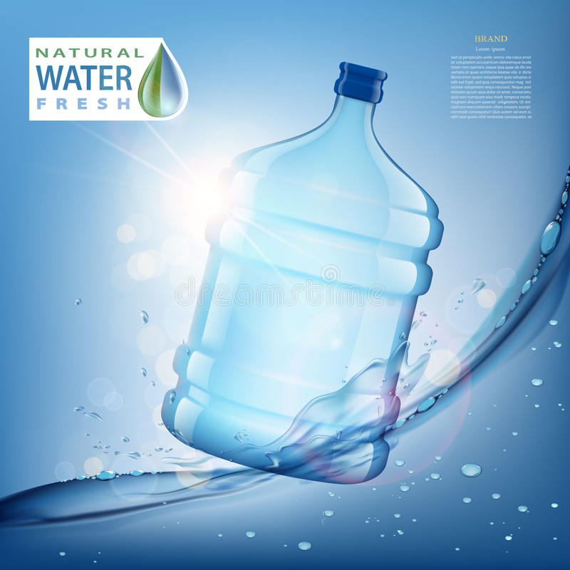 Bottle with clean, fresh water vector illustration