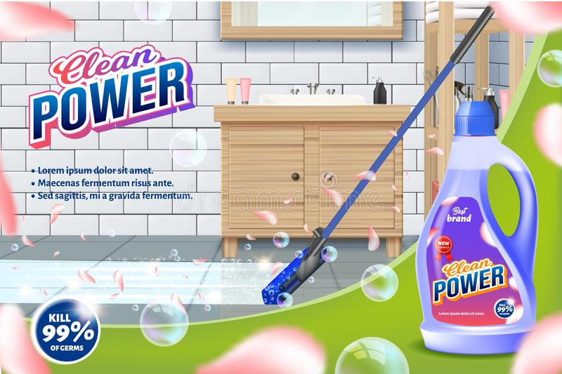 Bottle Clean Power. Mop Washes Bathroom Floor. Detergent for Home. Cleaning Service. Vector Illustration. Cleaning Realistic. Shining Surface. Household royalty free illustration