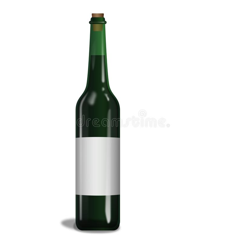 Bottle of clear green wine. Wine has been there since time immemorial, made from grapes in the fermentation makes this drink getting old and tasty vector illustration