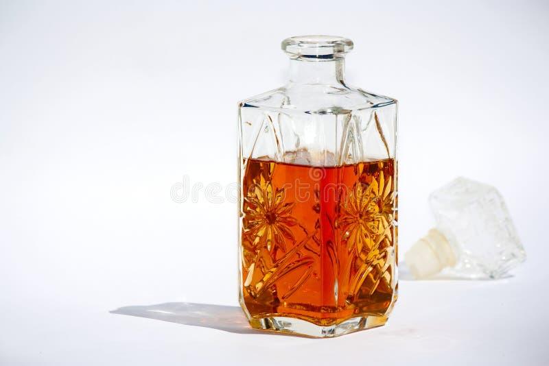 Bottle of cognac stock photos