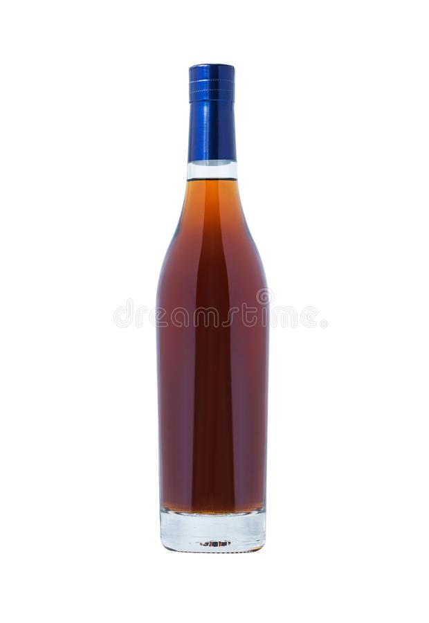 Bottle with cognac. Isolated on white background stock images