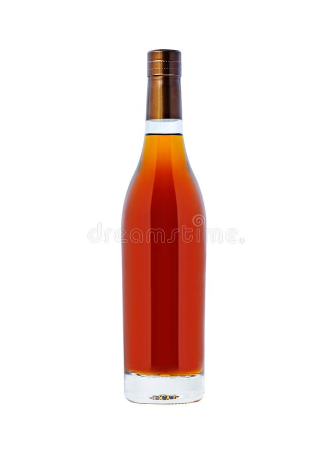Bottle with cognac. Isolated on white background stock photos