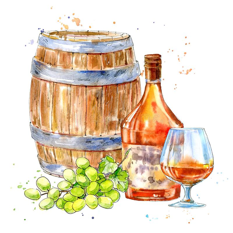 Bottle of cognac,wooden barrel,grapes and glasses. Picture of a alcoholic drink.Watercolor hand drawn illustration.White background vector illustration