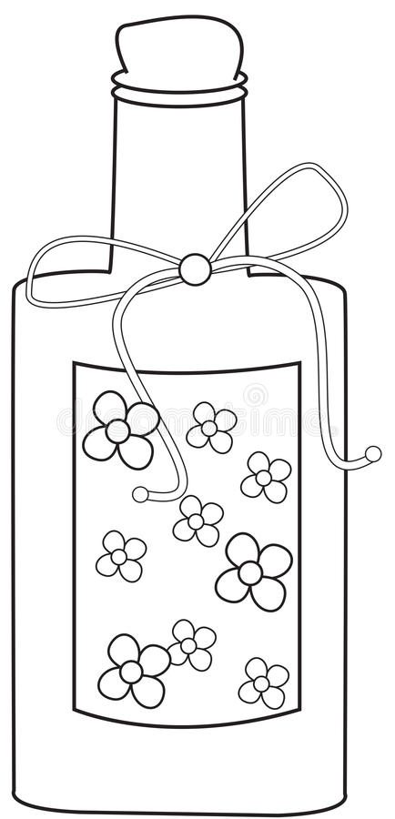 Bottle coloring page. Useful as coloring book for kids stock illustration