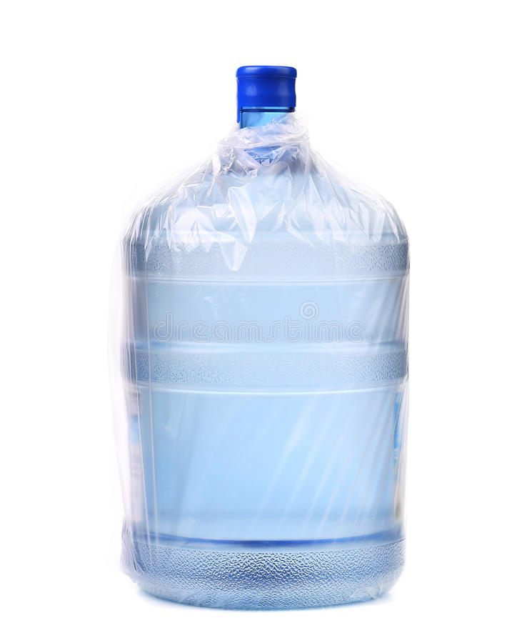 Download Bottle For Cooler In Plastic Packet. Stock Photo - Image of angle, tank: 34776780