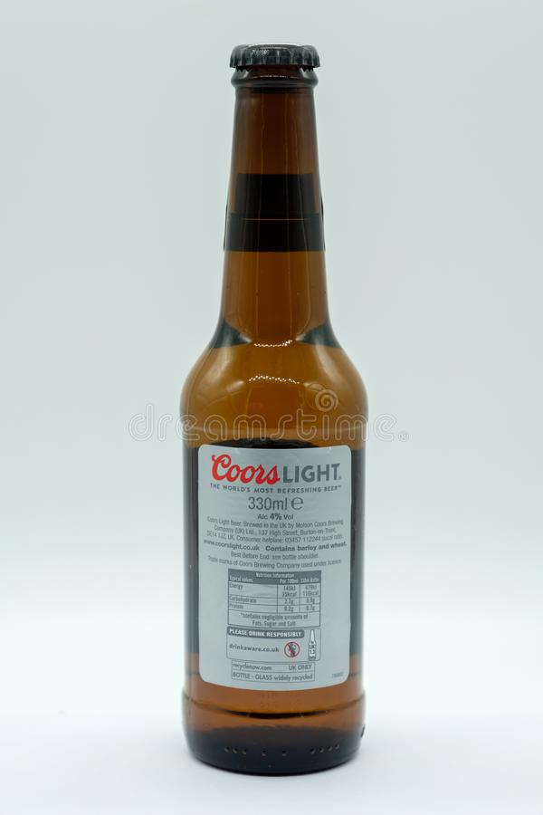 Bottle of Coors Light Lager Beer Label showing symbols for alcoholic Content & Drink Aware Information stock image