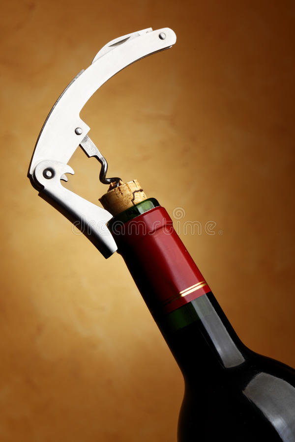 Bottle With Cork-screw Stock Photography