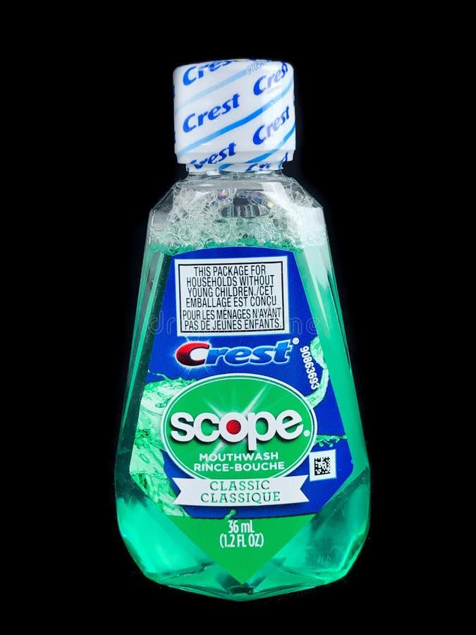 Bottle of Crest Mouthwash stock images