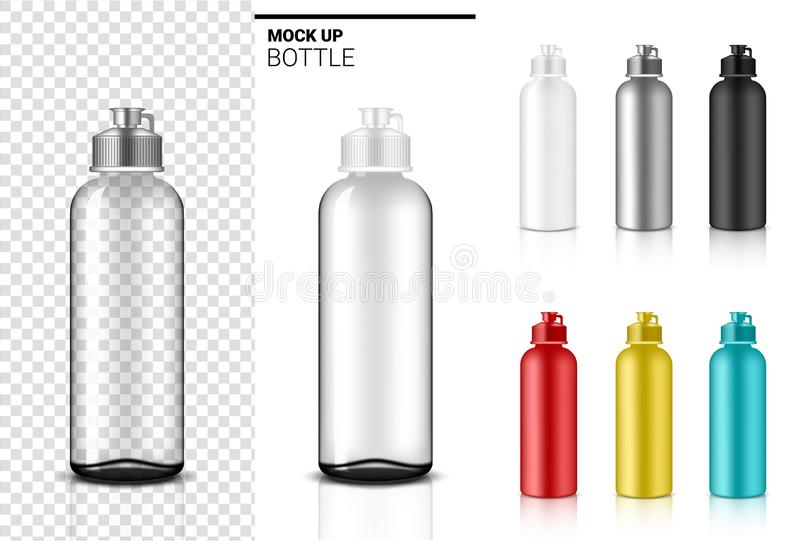 Bottle 3D Mock up Realistic transparent Dropper Plastic Shaker in Vector for Water and Drink. Bicycle and Sport Concept. Design vector illustration