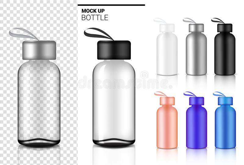 Bottle 3D Mock up Realistic transparent Plastic Shaker in Vector for Water and Drink. royalty free illustration