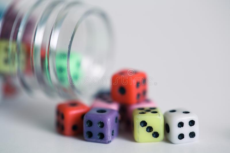Bottle of dices royalty free stock photos