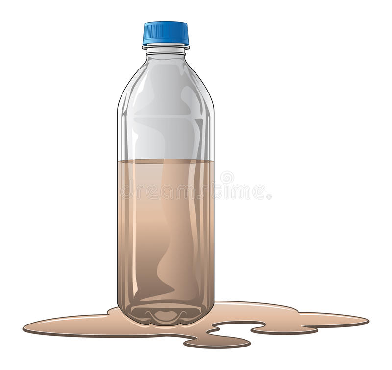 Bottle With Dirty Water. Is an illustration of a plastic or glass bottle half full of dirty water or brown water. For example, this could be used for water stock illustration