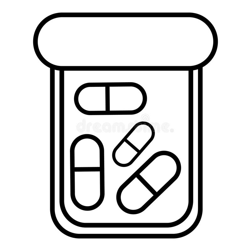 Bottle drug icon , outline style royalty free illustration