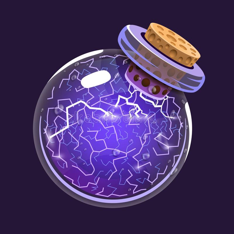 Bottle of Electricity. Game icon of magic elixir. Interface for rpg or match3 game. Energy, lightning, electric. Big stock illustration