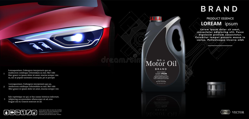 Bottle of engine oil against the background of the car.Vector illustration EPS10 vector illustration