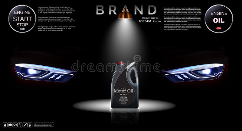 Bottle of engine oil against the background of headlights. royalty free illustration