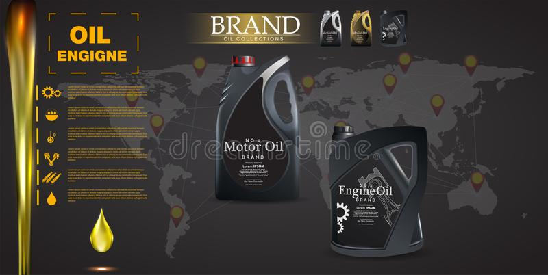 Bottle engine oil on a background a motor-car piston, Technical illustrations. Realistic 3D vector image. canister ads template wi stock illustration